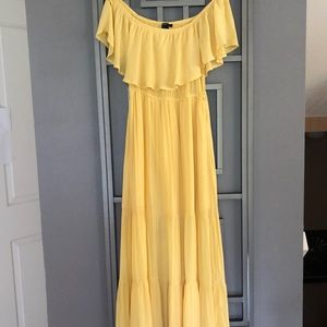 Forever 21 bohemian yellow off the shoulder maxi L